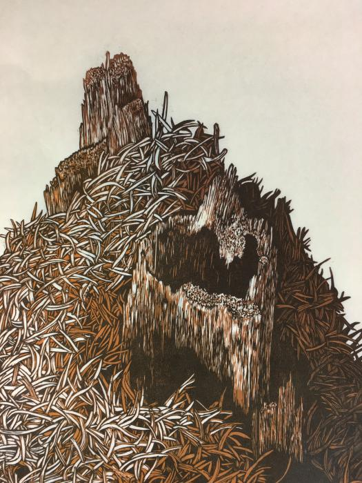 Rebecca Gilbert, thatching mound, woodcut
